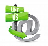 Like Us Online At Sign Illustration Design
