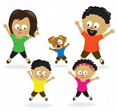 Family doing jumping jacks 2