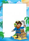 Frame With Pirate On Beach