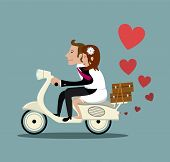 Married couple on a moped