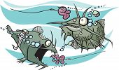 picture of fighter-fish  - A pair of cartoon Zombie Catfish looking for Brains - JPG