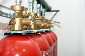 picture of fire insurance  - Large CO2 fire extinguishers in a room