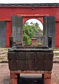 Fragment Of A Temple Courtyard With Sacrifice Caldron And An Open Gate In Qiyun Mountain, Anhu