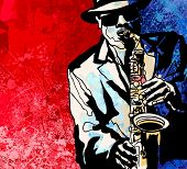 stock photo of saxophones  - Vector illustration of a jazz saxophone player - JPG