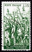 Postage Stamp Italy 1958 Triumph Of Caesar, By Montegna