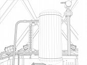 Industrial equipment. Wire-frame