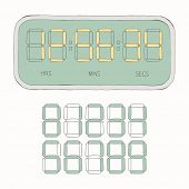 Doodle set - digital watch & numbers