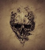 stock photo of skeleton  - Tattoo skull over vintage paper - JPG