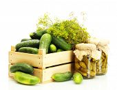 stock photo of pickled vegetables  - fresh cucumbers in wooden box - JPG