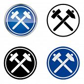 Miner - Traditional Craftsmen's Guild Vector Symbol, four variations