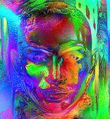 Abstract, metallic face