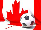 Flag Of Canada With Football In Front Of It