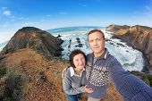 Self-portrait Of The Family For A Walk Along The Shores Of Portugal. Made Fisheye.