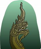 stock photo of dragon head  - Vector of Thai dragon King of Naga - JPG