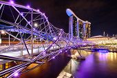 picture of singapore night  - The Helix bridge with Marina Bay Sands in background - JPG