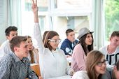 Happy schoolgirl raising hand during lecture in schoolroom