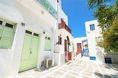 Typical Mykonos Street , Mykonos Greece .