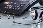 Working Place Office Desk Table Headset Glasses Telephone