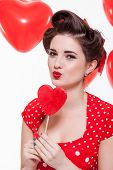 Beautiful Retro Woman Celebrating Valentines