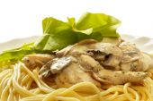 Pasta With Creme Mushroom Sauce (path Isolated)