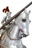 stock photo of knights  - Knight on warhorse on white isolated background - JPG
