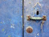 Vintage Door Key Hole With Green Rusting Door Handle 2 Panels