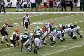 NEW YORK-DEC 22: New York Jets quarterback Geno Smith (7) calls out a play against the Cleveland Bro