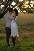 Couple sweethearts kissing under tree