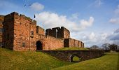 image of bailey  - Carlisle Castle view of the entrance and bridge over the moat - JPG