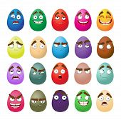 Happy easter smiling eggs