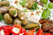 Different Types Of Antipasto On A Plate