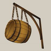 barrel suspended on chains - vector illustration