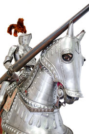 foto of jousting  - Knight on warhorse on white isolated background - JPG