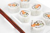Japanese Cuisine - California Roll with Cucumber , Cream Cheese and Raw Salmon inside. Served with w