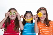 happy kids with healthy diet of fruit.