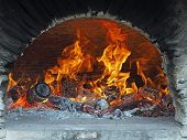 Wood Fire In A Bread Oven