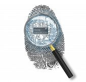 Identification Concept. Magnifying Glass Over Finger Print With Microchip On White Background
