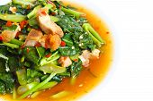 image of kale  - thai food fried kale with crispy pork - JPG