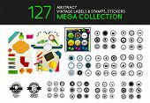 Collection of vintage stamps lables tags vector icons