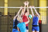 pic of volleyball  - volleyball game sport with group of girls indoor in sport arena - JPG