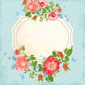 Vintage background with flowers and rose hips, forget-me-not and butterflies.