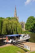 Holy Trinity Church and pleasure boat, Stratford-upon-Avon.