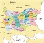 Bulgaria with Administrative Districts and Surrounding Countries