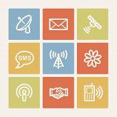 Communication web icons, color square buttons