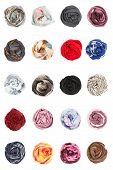 Scarves. Collards of silk scarves folded rosettes
