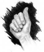 picture of fingerspelling  - Pencil drawing of a hand signing the letter A in American Sign Language - JPG