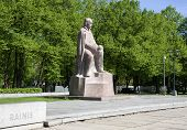 Riga. Monument To The Latvian Writer And Poet Rainis.
