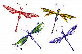 Red Blue Black Green Yellow Paint Made Dragonfly Set