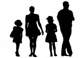 Silhouettes of parents and children on a white background