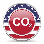 carbon dioxide american icon, usa flag